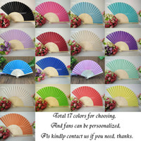 Wholesale elegant dance - DHL Free Shipping Wedding Favors Gifts Cloth Fodling Fan Elegant Solid Candy Color Silk Bamboo Fan DIY Drawing Color Fan