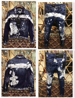 ingrosso jeans plaid patchwork-Giacca di jeans, abito in denim a maniche lunghe da uomo 2019. Alta qualità, prezzo più basso, top in denim + pantaloni 44-54