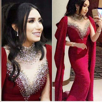 Wholesale over shoulder long dress - 2018 New Saudi Arabic Mermaid Prom Dresses Sexy Vestidos With High Neck Draped Sashes over shoulder Sweep Train Long Women Evening Gowns