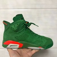 Wholesale Basketball Mike - (with Box) 2018 air retro 6 6s Gatorade Green Suede men Basketball Shoes Like Mike 6s Mens sport shoe sneaker high quality