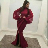 Wholesale Print Kaftan - Arabic Burgundy Mermaid Prom Dresses 2018 for Women Floor Length Lace Satin Split Dubai Kaftan High Neck Long Sleeve Evening Gowns