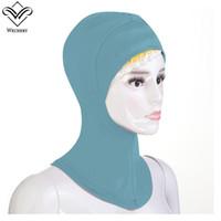 yeni kapaklı kapaklar toptan satış-Kadın Türban Müslüman Elbise Yeni Baş Eşarp Katı Renk Modal Türban Anında Kaftan Kapaklar Başörtüsü Bangladeş Abaya Dubai Kaftan