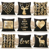 Wholesale Supersoft Velvet Bronzing Pillow Cover Cushion Cover Home Decor gold stamp Pillow Decorative Throw Pillows LOVE Pillow Case