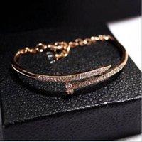 nova tendência braceletes ouro venda por atacado-Nova tendência europeu e americano temperamento diamante cor pulseira pulseira de unha polonês genuíno cor de ouro feminino