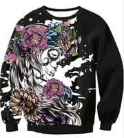 hoodie imprimé crâne pour femme s achat en gros de-Floral Skull Print Squelette Imprimer Pull À Capuche Amateurs Lâche Casual À Manches Longues Chandail T-shirt Hommes Femmes Holloween Costume Sweat