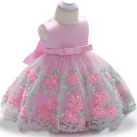 vestido de batismo recém-nascido venda por atacado-Vestidos de festa Infantil 2018 Summdr Vestidos Das Meninas Do Bebê Para O Bebê Meninas Vestido de Princesa Vestido de Aniversário de 1 Ano Recém-nascido vestido de Baptizado