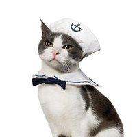 costume de marine vente achat en gros de-New Hot Sale Chiens Chat Chapeau Costume De Marin Vêtements Nautiques Cape Pet Navy Kit QWlVKDoLkQ
