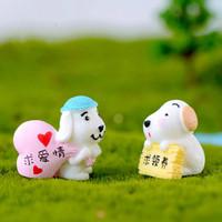 ingrosso piccolo giardino paesaggistico-Single Dog Longing for LOVE Micro paesaggio creativo Ornamenti fai da te Artigianato, piccoli regali per bambini Accessori Bambola Fata Giardino in miniatura