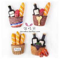 ímãs de vinho venda por atacado-Creatiove Pequeno Almoço Cestas De Pão Vinho Tinto Geladeira Magnética Imã de geladeira 3D Adesivo Cozinha Decoração Da Cozinha Em Casa