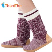 Wholesale 3d spool - ToLaiToe Best Quality Warm Home Shoe Floor Soft Sole Long Boots Super Nubuck Leather Indoor House Shoes 3D Long Socks Many Style