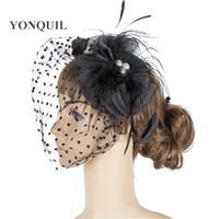 Wholesale crinoline fascinator for sale - multiple color crinoline fascinator party bridal veils hats occasion headpiece Feather hair accessories MYQ050