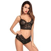 Wholesale ladies chiffon vest - Black Women Foral Lace Bralet Unlined Suit Sexy Curved Full Cup With Lace Underwear Lady Flower Vest Tank Bra Underwear 5 set\lot