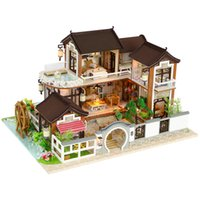 Wholesale handmade toy wood house for sale - New Diy Miniature Dollhouse Wooden Miniature Handmade Doll Houses Furniture Model Kits Box Handmade Toys For Children Girl Gifts