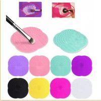 mattenbretter großhandel-Großhandel Silikon Make-up Pinsel Kosmetik Pinsel Reiniger Reinigung Scrubber Board Matte Waschwerkzeuge Pad Handwerkzeug