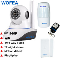 Wholesale gsm infrared sensor resale online - 960P HD CCTV IP Security Camera Wifi GSM SMS alarm system WiFi IP Camera Home Office Burglar alarm System Motion Sensor Kit