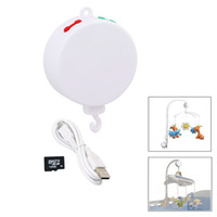 детские кроватки детские оптовых-Song Rotary Baby Mobile Crib Bed Bell Toy Battery-operated Movement Music Box Newborn Crib Rattles Baby Toys + 128MB SD Card