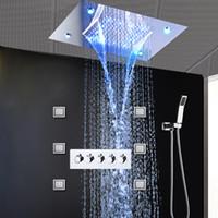 grifo de ducha de lluvia de lujo conjunto al por mayor-Sistemas de ducha de lluvia de lujo Cabezal de ducha LED oculto Masaje en cascada Grifos Chorros de pulverización corporal de 4 pulgadas para baño Conjunto de ducha