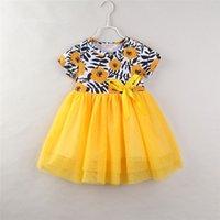 vestido da menina da fita da gaze venda por atacado-Meninas vestido de renda floral amarelo para 1-6 T impressão flor crianças fita bowknot gaze emenda manga curta vestido de princesa