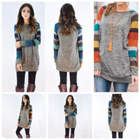 Wholesale Wholesale Long Tunic Tops - Women Causal Plaid Slim Patchwork Long Sleeve T-Shirt Blouse Pullover Tops Striped Warm Embrace Scoop Neck Tunic Tops OOA4365