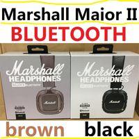наушники супер бас оптовых-Marshall Major II 2.0 Bluetooth Беспроводные черные коричневые наушники DJ Studio Beat Headphone Deep Super Bass шумоизоляционная гарнитура для телефона