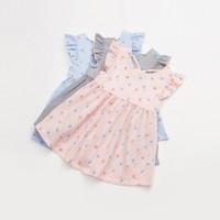 vestido floral de pétalos para niños. al por mayor-Vestidos para niños Vestido de niña Vestidos cortos de verano Mangas de pétalos Ropa de algodón Ropa para niños Vestido estampado floral