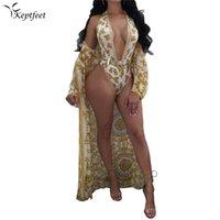 tek parça mayolar brazilian kesim toptan satış-Seksi Altın Trikini Bandaj Mayo + Cover up Backless Monokini Yüksek Kesim Brezilyalı Tanga Mayo Kadınlar One Piece Mayo