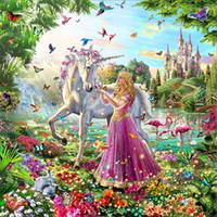 ingrosso punto croce farfalla-Mosaico decorazione della casa del fumetto Farfalla Fata unicorno diy diamante pittura a punto croce kit strass completo diamante rotondo ricamo yx4251