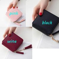 22e6303bf8 Borsa a mano corta della borsa della chiusura lampo del portafoglio delle  donne del cuoio genuino breve 3 colori per la borsa dei soldi del regalo di  ...