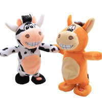 Wholesale toys record voices for sale - Group buy Electric Animals Plush Doll Donkey Horse Cow Toys Walk Sound Recording Songs Laugh Change Voice Bib Remote Control Stuffed PP Cotton