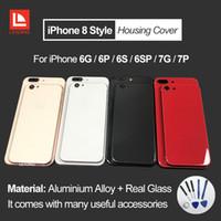 elma p toptan satış-IPhone 6 6 P 6 S için 6 SP 7 7 P Artı Arka Konut Kapak Gibi iPhone 8 Stil Metal Cam Arka Kapak Değiştirme Düğmeleri ile