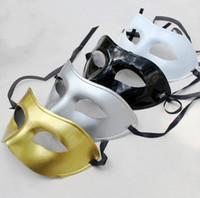 классические маски для хэллоуина оптовых-Классические мужские маскарадные маски необычные платья венецианские маски маскарадные маски пластиковые Хэллоуин половина Маска Бесплатная доставка NA13