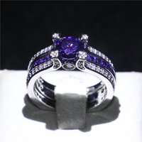 Wholesale silver amethyst wedding band resale online - Luxury Sterling Silver Filled Band Fashion Amethyst CZ Jewelry Wedding Engagement Ring Set Gift For Women Party Size