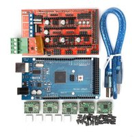 controlador integrado al por mayor-Impresora 3D Tarjeta de Controlador PCB MKS Gen V1.4 Integrated Mainboard Impresora 3D RAMPS 1.4 Controlador + MEGA2560 R3 + A4988 Con Disipador de Calor