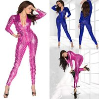 Wholesale shiny clubwear - 5 Colors Hot Women Sexy Shiny Leather Latex Jumpsuit Hollow Out Hole DJ Dance Catsuit Exotic Clubwear PVC Bodysuit Size S M L XL