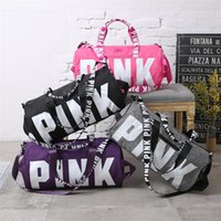 Wholesale love pink large - Love Pink Storage Bag Big Large Pink Letter Women 4 Colors Travel Fitness Bag Hangbag Waterproof Duffel Bags Bags 5 PCS
