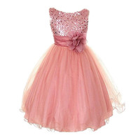 Wholesale daily dress - Princess Girl O-neck Sleeveless Sequined Floral Ball Gown Party Dresses One Piece Daily Dress