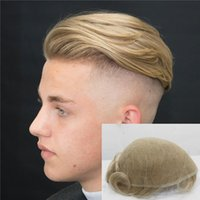 Wholesale blonde toupee resale online - Light Blonde Full Lace Men Toupee French Lace Men Wig Replacement System Human Hair Lace Toupee For Men Breathable Hairpieces
