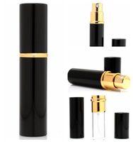 siyah cam parfüm şişeleri toptan satış-5 ml Alüminyum Cam Şişe Parfüm Şişeleri Doldurulabilir Mini Scent-şişe Parfüm Sprey Atomizer Siyah Sprey şişe KKA3830