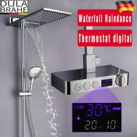 Wholesale temperature set shower faucet for sale - Group buy Bathroom Rain Shower Set Intelligent Mixer Faucet Smart Rain Wall Waterfall Temperature Thermostatic Shower Faucets