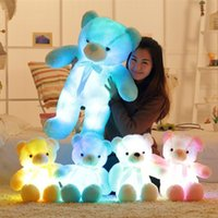 Wholesale teddy bear best gift - Wholesale-Flashing Plush Toy Stuffed Led Light Teddy Bear Kid Toy Cute Luminous Colorful Baby Doll Best Gift For Children And Friends 75CM