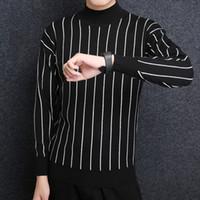 jersey de estilo coreano para hombre al por mayor-2018 nueva marca de moda suéter para hombre pullover rayas slim fit jumpers que hacen punto grueso invierno estilo coreano ropa casual masculina