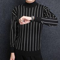 yeni moda korean kış mens toptan satış-2018 Yeni Moda Marka Kazak Erkek Kazak Çizgili Slim Fit Süveter Örme Kalın Kış Kore Tarzı Rahat Giyim Erkek