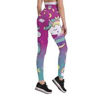vêtements de sport pour femmes mignonnes achat en gros de-Cute Cartoon Femmes Pantalons Taille Haute Rides Leggings Shaper 3D Gradient Rainbow Unicorn Pantalons Fitness Sportswear Ankle Skinny