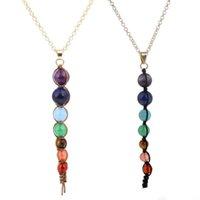 edelsteine perlen halskette großhandel-2 stil yoga reiki 7 chakra edelstein perlen anhänger halsketten modeschmuck gewebt halskette zubehör
