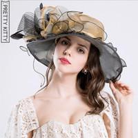 ingrosso cappelli graziosi-PRETTY KITTY 2018 Donna Vintage Cappello da sole floreale con volant e cappello estivo da spiaggia Cappello con visiera ampia e larga