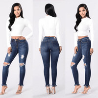 Wholesale Cheap Woman Jeans - Cheap Price High Waist Ripped Jeans For Women Denim Push Up Plus Size Distressed Knee Cut Frayed Hem Skinny Stretchy Butt Lift Pencil Pants
