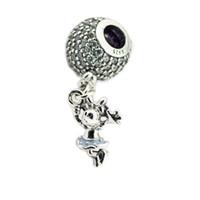 encantos leves venda por atacado-Se encaixa para encantos pulseiras flutuantes contas mouse com luz azul esmalte 100% 925 esterlina-prata-jóias frete grátis
