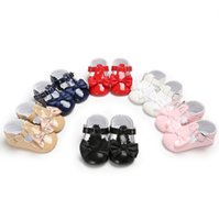 Wholesale girls bow sneakers for sale - Group buy Fashion newborn baby new toddler baby girls boys PU leather bow shoes baby girls anti slip crib shoes soft sole sneakers