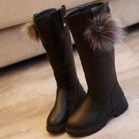 sapatos de patente de couro neve venda por atacado-Novo inverno menina sapato bebê menina botas de neve sapatos quentes sapato à prova de deslizamento de couro à prova d 'água 863