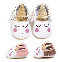 bebek deri yürüyüş ayakkabısı toptan satış-INS Unicorn Bebek Yürüyüş Ayakkabıları bebek Moccs Moccasins Bebek Ilk Yürüyüşe püsküller yumuşak PU Deri Bebekler ayakkabı 0-18Mos C5172